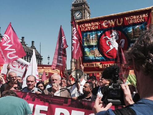"""CWU stages Parliament Square protest in support of """"The People's Post"""" campaign"""