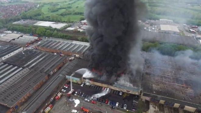 Fire at Worcester warehouse