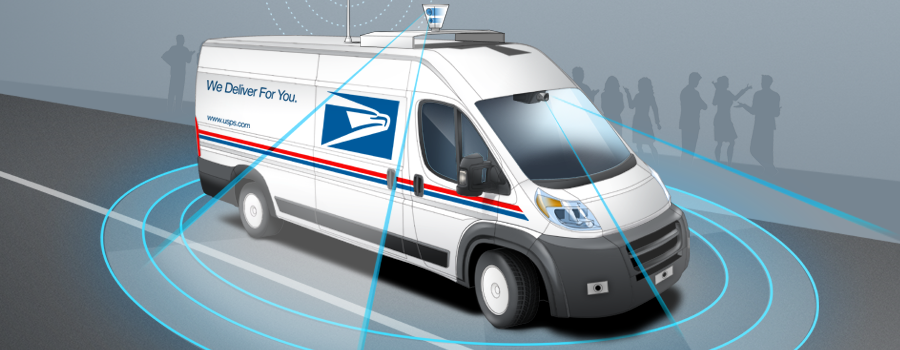 Plotting a path for self-driving postal delivery vehicles